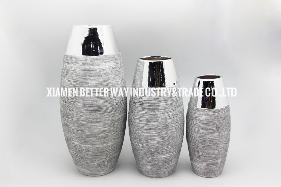 Grey silver ceramic vases